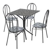 Jogo de Mesa e 04 Cadeiras Thais com Tampo em Madeira/MDF Branca/Assento Preto Floral - Artefamol