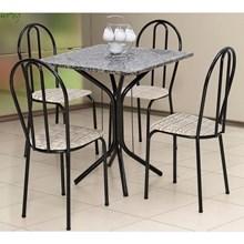 Jogo de Mesa e 04 Cadeiras Thais com Tampo em Madeira/MDF Craquelada/Assento Rattan - Artefamol