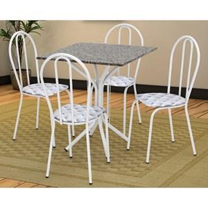 Jogo de Mesa e 04 Cadeiras Thais com Tampo Granito Branca/Assento Capitone - Artefamol