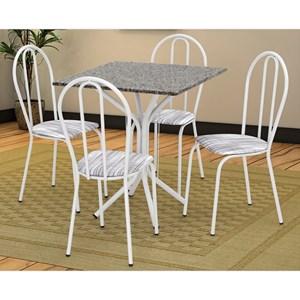 Jogo de Mesa e 04 Cadeiras Thais com Tampo Granito Branca/Assento Linho - Artefamol