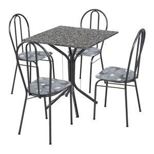Jogo de Mesa e 04 Cadeiras Thais com Tampo Granito Branca/Assento Preto Floral - Artefamol