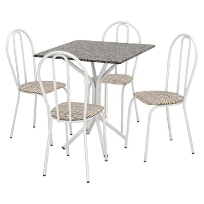 Jogo de Mesa e 04 Cadeiras Thais com Tampo Granito Branca/Assento Rattan - Artefamol