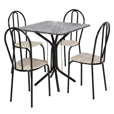 Jogo de Mesa e 04 Cadeiras Thais com Tampo Granito Craquelada/Assento Rattan - Artefamol