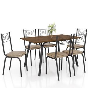 Jogo de Mesa Lótus Tampo de Madeira e 6 Cadeiras 119 Preto/Rattan - Artefamol