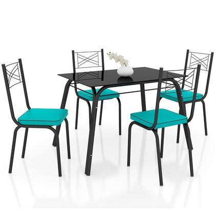 Jogo de Mesa Lótus Tampo de Vidro e 4 Cadeiras 119 Preto/Azul Turquesa - Artefamol