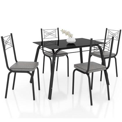 Jogo de Mesa Lótus Tampo de Vidro e 4 Cadeiras 119 Preto/Platina - Artefamol