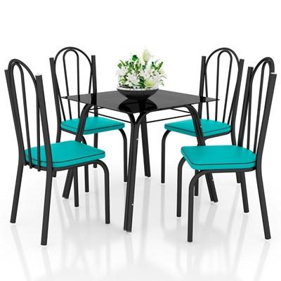 Jogo de Mesa Lótus Tampo de Vidro e 4 Cadeiras 121 Preto/Azul Turquesa - Artefamol