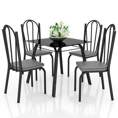 Jogo de Mesa Lótus Tampo de Vidro e 4 Cadeiras 121 Preto/Platina - Artefamol
