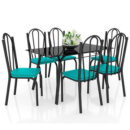 Jogo de Mesa Lótus Tampo de Vidro e 6 Cadeiras 121 Preto/Azul Turquesa - Artefamol