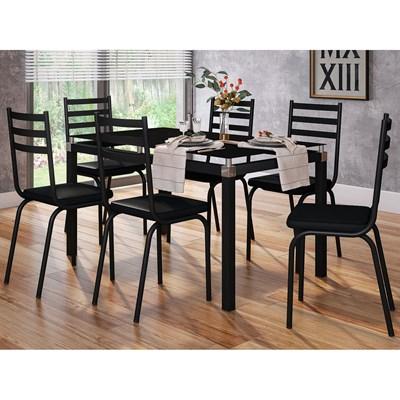 Jogo de Mesa Malva 140cm e 6 Cadeiras 118 Preto - Artefamol