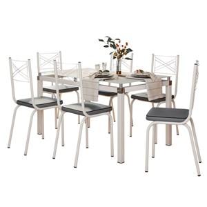 Jogo de Mesa Malva 140cm e 6 Cadeiras 119 Branco/Platina - Artefamol