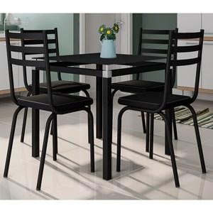 Jogo de Mesa Malva 75cm e 4 Cadeiras 118 Preto - Artefamol
