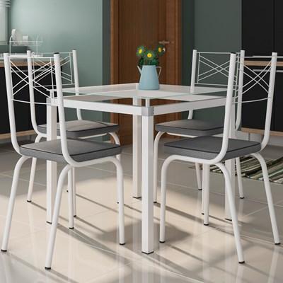 Jogo de Mesa Malva 75cm e 4 Cadeiras 119 Branco/Platina - Artefamol