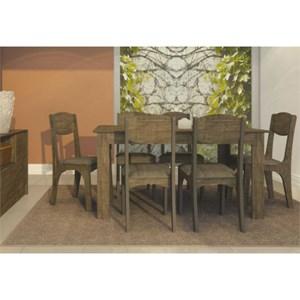 Jogo de Mesa para Sala de Jantar com 6 Cadeiras TM23 Rústico Chenile Marrom - Dalla Costa