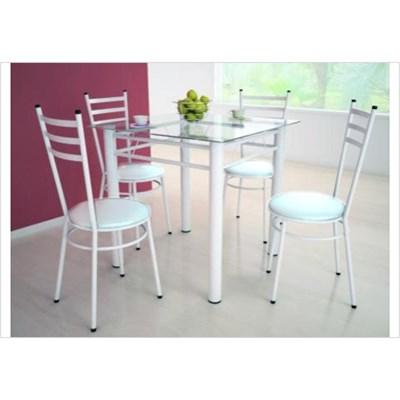 Jogo de Mesa Tulipa Branco com 4 Cadeiras com Assento Corano Branco - Marcheli