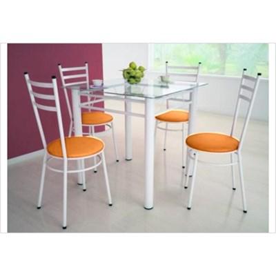 Jogo de Mesa Tulipa Branco com 4 Cadeiras com Assento Corano Laranja - Marcheli