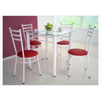 Jogo de Mesa Tulipa Branco com 4 Cadeiras com Assento Corano Vermelho - Marcheli