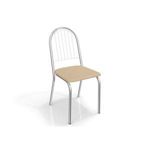 Jogo de Mesa Ural e 04 Cadeiras Noruega Cromado/Nude - Kappesberg