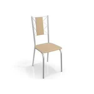 Jogo de Mesa Ural e 06 Cadeiras Lisboa Cromado/Nude - Kappesberg