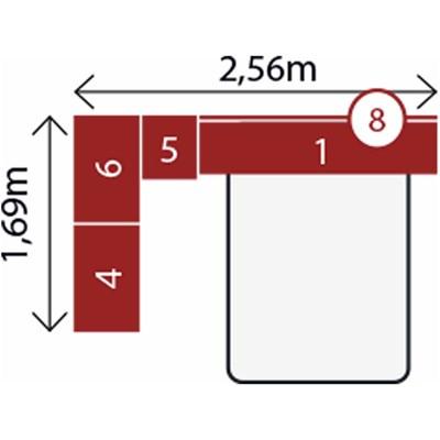 Jogo de Quarto Casal Modulado Modena CP3 Nogal - Demóbile