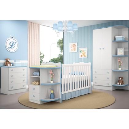 Jogo de Quarto Infantil Certificado pelo Inmetro Doce Sonho com Berço Cômoda Branco com Azul - Qmovi