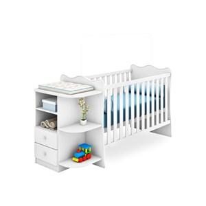 Jogo de Quarto Infantil Doce Sonho com Berço Cômoda Branco - Qmovi