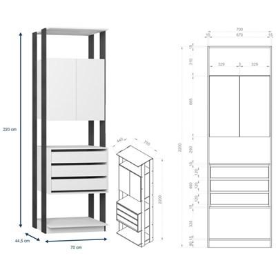 Jogo Modulado para Varanda Garagem Clothes Branco/Espresso - BE Mobiliário