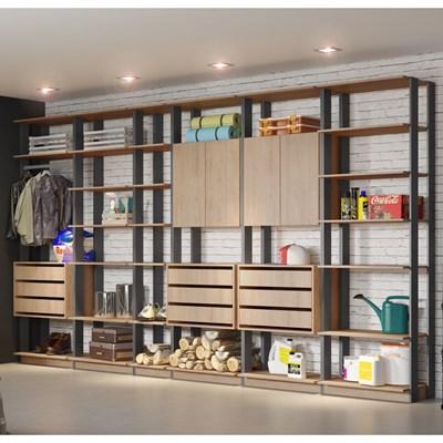 Jogo Modulado para Varanda Garagem Clothes Carvalho/Espresso - BE Mobiliário