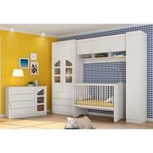 Jogo Quarto Infantil Modulado com Cômoda Eloísa e Berço Mini Cama Alegria Branco - Phoenix Baby