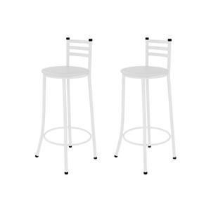 Kit 02 Banquetas Altas com Encosto Branco com Assento Branco - Marcheli