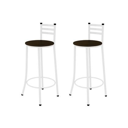 Kit 02 Banquetas Altas com Encosto Branco com Assento Marrom Escuro - Marcheli
