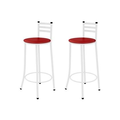 Kit 02 Banquetas Altas com Encosto Branco com Assento Vermelho - Marcheli