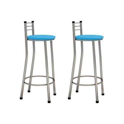 Kit 02 Banquetas Altas com Encosto Cromado e Assento Azul - Marcheli