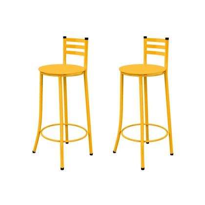 Kit 02 Banquetas Altas com Encosto e Assento Amarelo - Marcheli