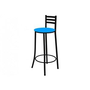 Kit 02 Banquetas Altas com Encosto Preto com Assento Azul - Marcheli