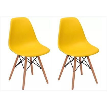 Kit 02 Cadeiras Eiffel Charles Eames Amarela com Base de Madeira DSW