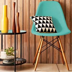 Kit 02 Cadeiras Eiffel Charles Eames Azul Tiffany com Base de Madeira DSW