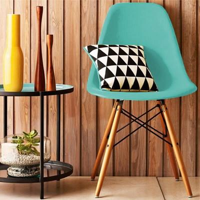 Kit 02 Cadeiras Eiffel Charles Eames Azul Tiffany com Base de Madeira - Mpozenato