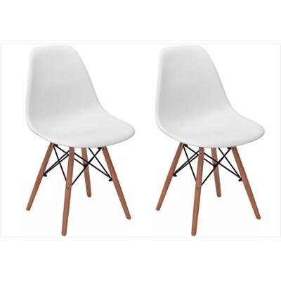 Kit 02 Cadeiras Eiffel Charles Eames Branca com Base de Madeira DSW