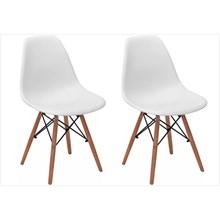 Kit 02 Cadeiras Eiffel Charles Eames em ABS Branca com Base de Madeira DSW