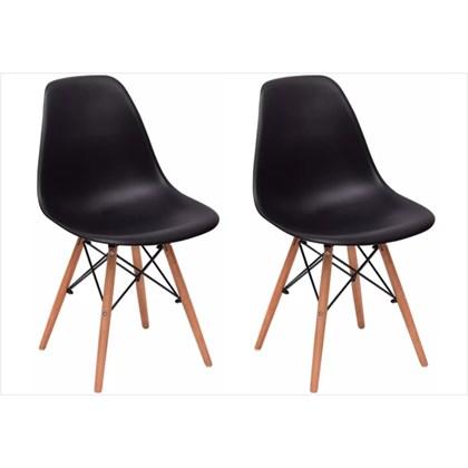 Kit 02 Cadeiras Eiffel Charles Eames F01 Preta Base de Madeira DSW - Mpozenato