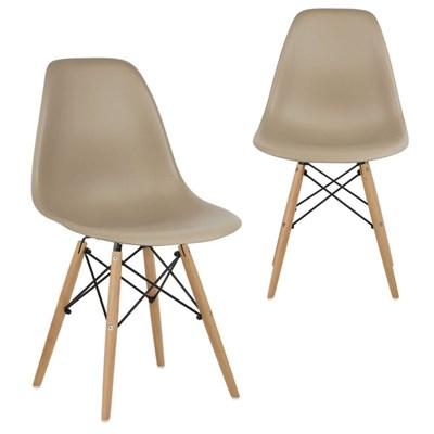 Kit 02 Cadeiras Eiffel Charles Eames Nude com Base de Madeira DSW