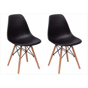 Kit 02 Cadeiras Eiffel Charles Eames Preta com Base de Madeira DSW