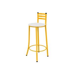 Kit 03 Banquetas Altas com Encosto Amarelo e Assento Branco - Marcheli