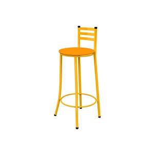 Kit 03 Banquetas Altas com Encosto Amarelo e Assento Laranja - Marcheli