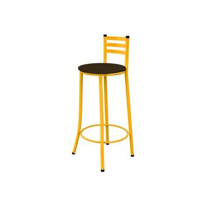 Kit 03 Banquetas Altas com Encosto Amarelo e Assento Marrom Escuro - Marcheli