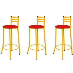Kit 03 Banquetas Altas com Encosto Amarelo e Assento Vermelho - Marcheli