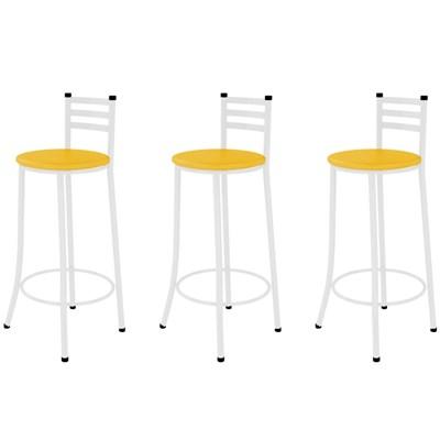Kit 03 Banquetas Altas com Encosto Branco com Assento Amarelo - Marcheli