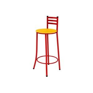 Kit 03 Banquetas Altas com Encosto Vermelho e Assento Amarelo - Marcheli