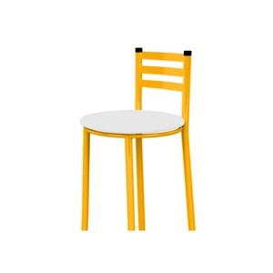 Kit 04 Banquetas Altas com Encosto Amarelo e Assento Branco - Marcheli